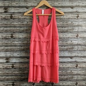 Alya | Coral Tiered Scalloped Laser Cut Dress | M